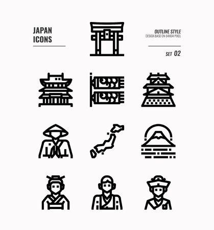 Japan flat icon set. Include Traditional costume, people, architecture, landscape, art and more. Outline icons Design. vector illustration Ilustracja