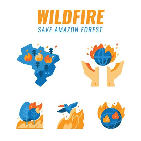 Save amazon forest and wild animals from wildfires. Flat design icons. vector illustration