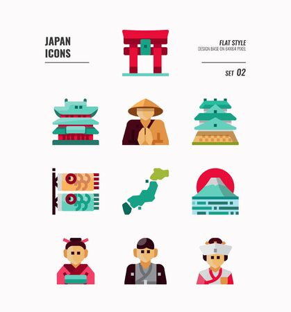 Japan flat icon set. Include Traditional costume, people, architecture, landscape, art and more. Flat icons Design. vector illustration