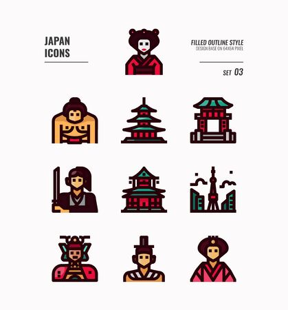 Japan flat icon set. Include Traditional costume, people, architecture, building and more. Filled outline icons Design.  vector illustration