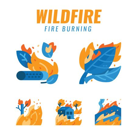 Wildfires and Fire disaster. Flat design icons. vector illustration