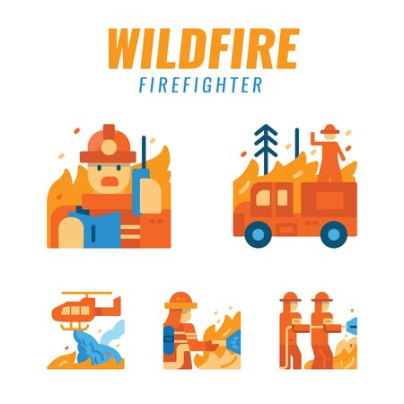 firefighters with wildfire. Flat design icons. vector illustration