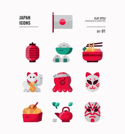 Japan flat icon set. Include Traditional art, food, craft, flag and more. Flat icons Design. vector illustration