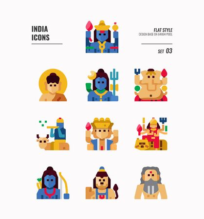 India icon set. Include India Spiritual, Hindu, Buddhism and more. Flat icons Design. vector illustration