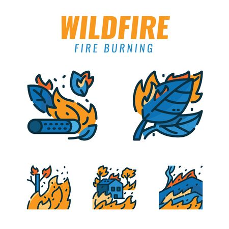 Wildfires and Fire disaster. Filled outline icons design. vector illustration Иллюстрация