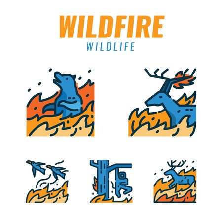 Wild animals with wildfires. Flat design icons. vector illustration