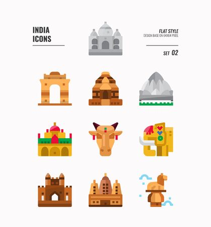 India icon set. Include India landmark, building, animal and more. flat icons Design. vector illustration