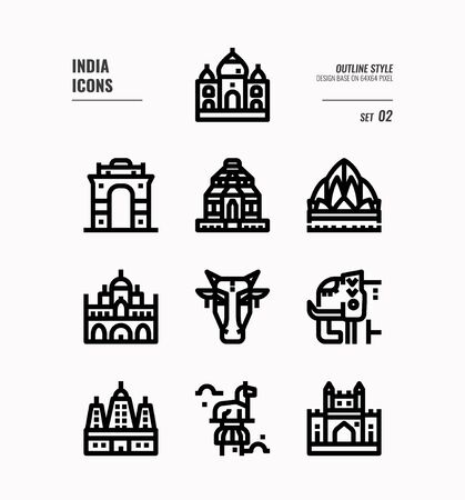 India icon set. Include India landmark, building, animal and more. Outline icons Design. vector illustration