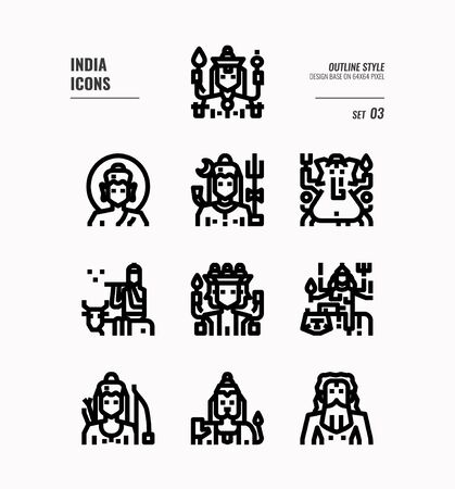 India icon set. Include India Spiritual, Hindu, Buddhism and more. Outline icons Design. vector illustration 일러스트