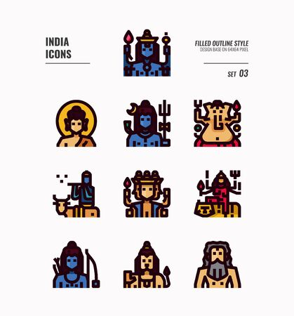 India icon set. Include India Spiritual, Hindu, Buddhism and more. Filled Outline icons Design. vector illustration 일러스트