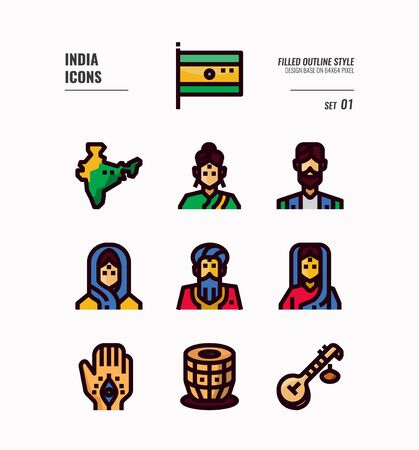 India icon set. Include India Flag, map, people, music instruments and more. Filled Outline icons Design. vector illustration