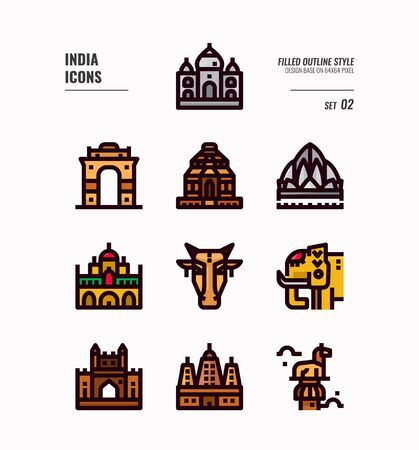 India icon set. Include India landmark, building, animal and more. Filled outline icons Design. vector illustration