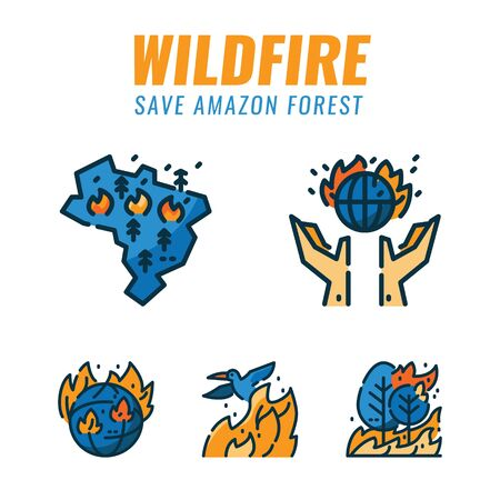 Save amazon forest and wild animals form wildfires. Filled outline icons design. vector illustration