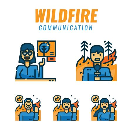 People reporting and sos calling about wildfires. Filled outline icons design. vector illustration
