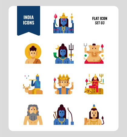 India icon set 3. Include India Spiritual, Hindu, Buddhism and more. Flat icons Design. vector illustration
