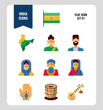 India icon set 1. Include India Flag, map, people, music instruments and more. Flat icons Design. vector illustration Illustration