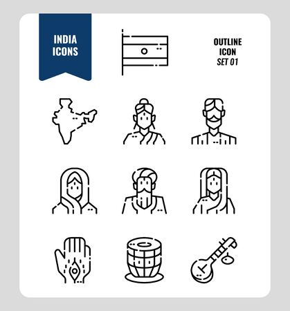 India icon set 1. Include India Flag, map, people, music instruments and more. Outline icons Design. vector illustration Illustration
