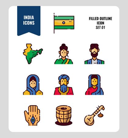 India icon set 1. Include India Flag, map, people, music instruments and more. Filled Outline icons Design. vector illustration