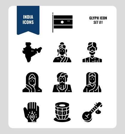 India icon set 1. Include India Flag, map, people, music instruments and more. Glyph icons Design. vector illustration