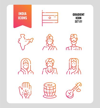 India icon set 1. Include India Flag, map, people, music instruments and more. Gradient icons Design. vector illustration