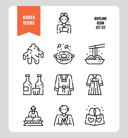 South Korea icon set 3. Include landmark, people, food, art and more. Outline icons Design. vector illustration 矢量图像