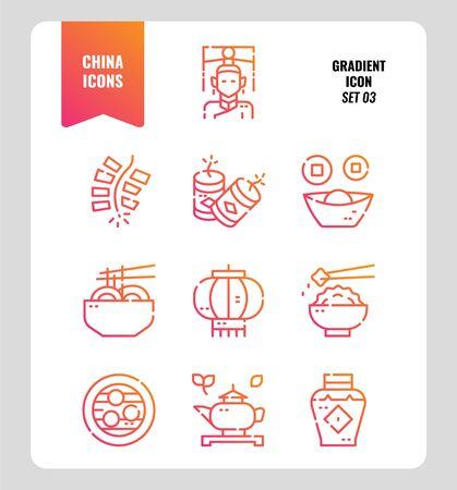 Conjunto de iconos de China 3. Incluye personas, comida, cultura tradicional, objetos y más. Diseño de iconos degradados. ilustración vectorial Ilustración de vector