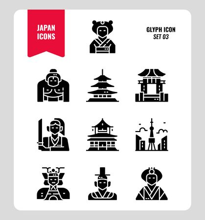 Japan flat icon set 3. Include Traditional costume, people, architecture, building and more. Glyph icons Design. vector illustration
