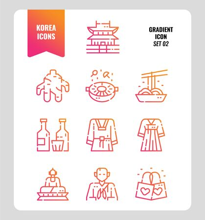 South Korea icon set 2. Include landmark, food, Traditional Culture and more. Gradient icons Design. vector illustration Illustration