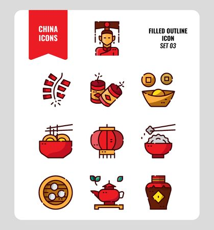 China icon set 3. Include People, food, Traditional Culture, Object and more. Filled Outline icons Design. vector illustration