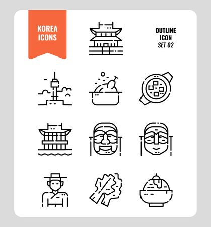 South Korea icon set 2. Include landmark, food, Traditional Culture and more. Outline icons Design. vector illustration Illustration