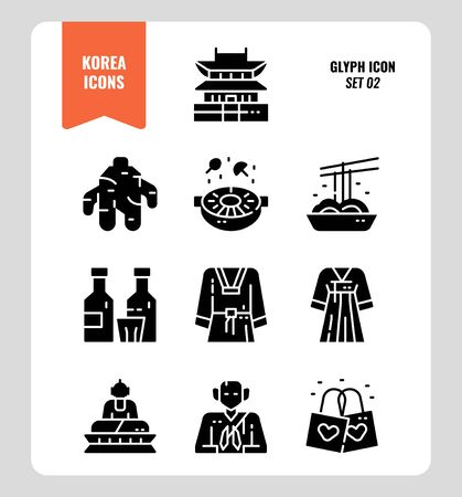 South Korea icon set 2. Include landmark, food, Traditional Culture and more. Glyph icons Design. vector illustration