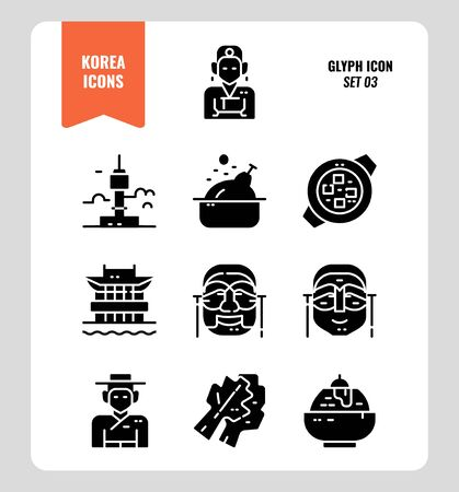 South Korea icon set 3. Include landmark, people, food, art and more. Glyph icons Design. vector illustration