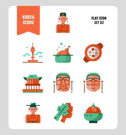 South Korea icon set 3. Include landmark, people, food, art and more. Flat icons Design. vector illustration