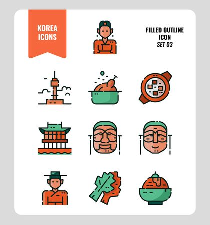 South Korea icon set 3. Include landmark, people, food, art and more. Filled Outline icons Design. vector illustration 矢量图像