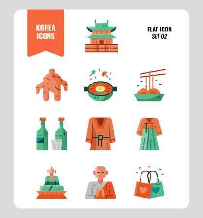 South Korea icon set 2. Include landmark, food, Traditional Culture and more. Flat icons Design. vector illustration Illustration