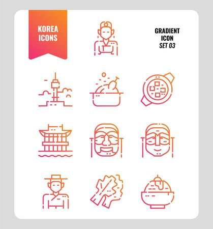 South Korea icon set 3. Include landmark, people, food, art and more. Gradient icons Design. vector illustration