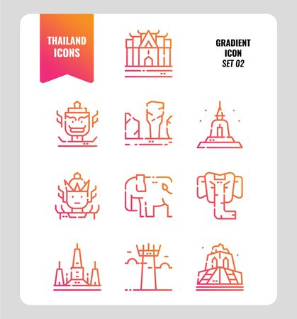 Thailand icon set 2. Include landmark, sculpture, temple, pagoda, elephant and more. Gradient icons Design. vector vector