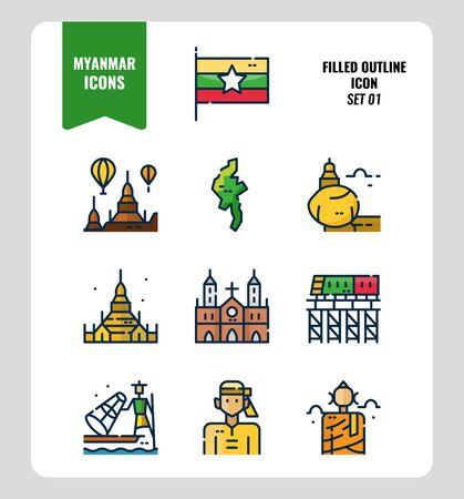 Jeu d'icônes du Myanmar 1. Inclure le drapeau, le point de repère, les personnes, la culture et plus encore. Conception d'icônes de contour rempli. vecteur Vecteurs