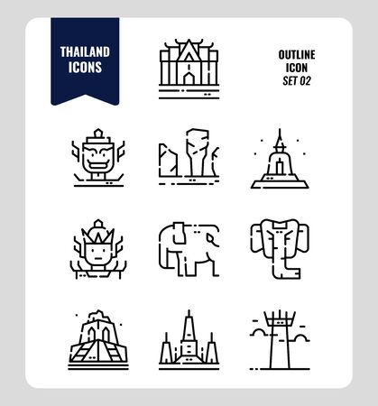Thailand icon set 2. Include landmark, sculpture, temple, pagoda, elephant and more. Outline icons Design. vector