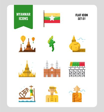Myanmar icon set 1. Include flag, landmark, people, culture and more. Flat icons Design. vector