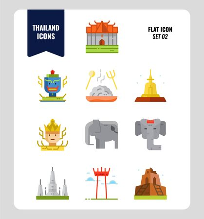 Thailand icon set 2. Include landmark, sculpture, temple, pagoda, elephant and more. Flat icons Design. vector 일러스트