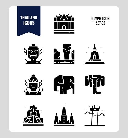 Thailand icon set 2. Include landmark, sculpture, temple, pagoda, elephant and more. Glyph icons Design. vector