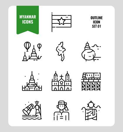 Myanmar icon set 1. Include flag, landmark, people, culture and more. Outline icons Design. vector Ilustração