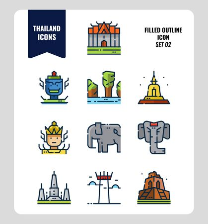 Thailand icon set 2. Include landmark, sculpture, temple, pagoda, elephant and more. Filled Outline icons Design. vector