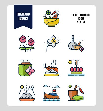 Thailand icon set 3. Include food, flower, festival, landmark and more. Filled Outline icons Design. vector