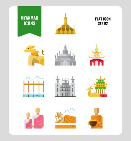 Myanmar icon set 2. Include landmark, people, culture and more. Flat icons Design. vector Иллюстрация
