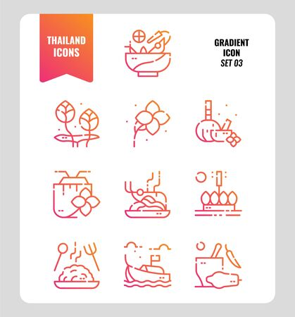 Thailand icon set 3. Include food, flower, festival, landmark and more. Gradient icons Design. vector Illustration