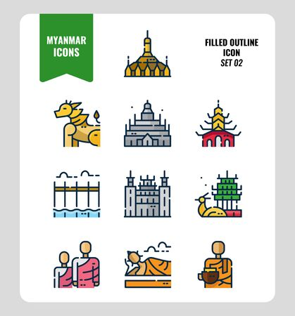 Myanmar icon set 2. Include landmark, people, culture and more. Filled Outline icons Design. vector 向量圖像