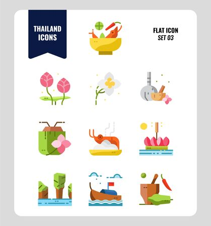 Thailand icon set 3. Include food, flower, festival, landmark and more. Flat icons Design. vector