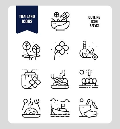Thailand icon set 3. Include food, flower, festival, landmark and more. Outline icons Design. vector Ilustracje wektorowe
